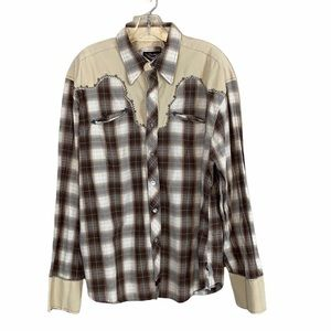 Fender Brown Plaid Snap Front Western Shirt SizeXL